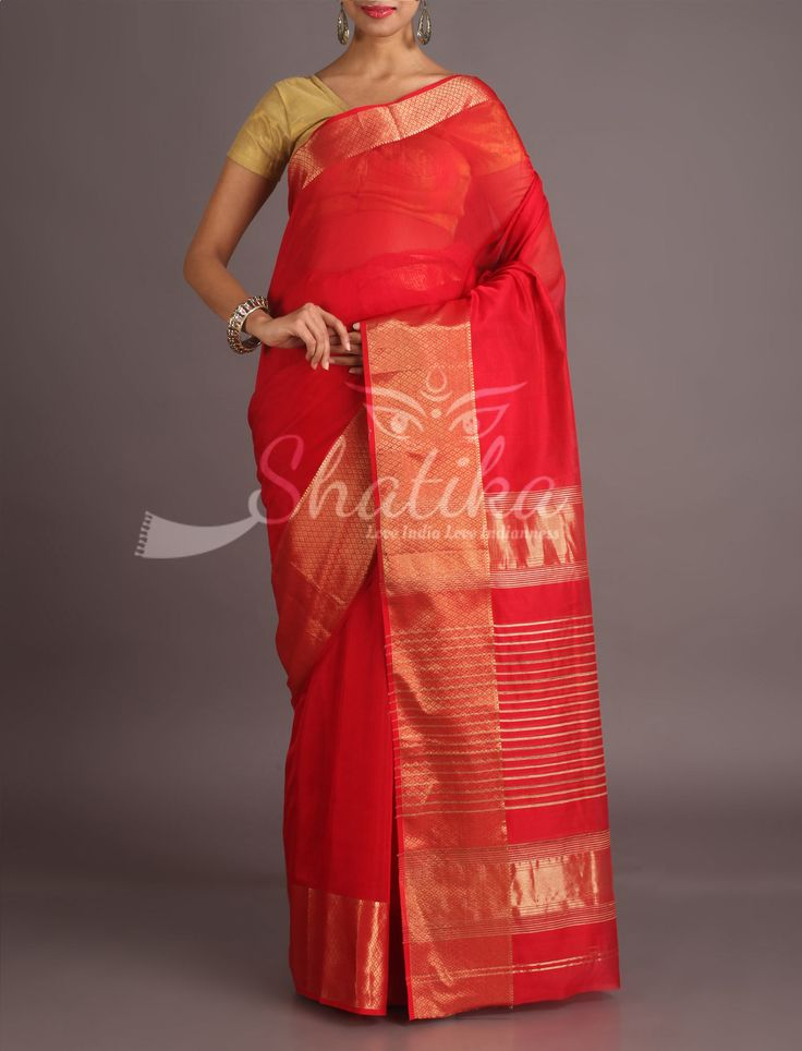 Kritika Bright Red With Molten Gold Border Pallu Maheshwari Silk Cotton Saree