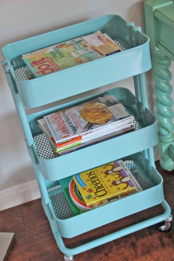 ikea turquoise caddy perfect for storing magazines and children 39 s books organize this. Black Bedroom Furniture Sets. Home Design Ideas