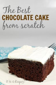This is hands-down the BEST basic chocolate cake recipe with buttercream frosting EVER!  This homemade chocolate cake is made from scratch...with lots of love!