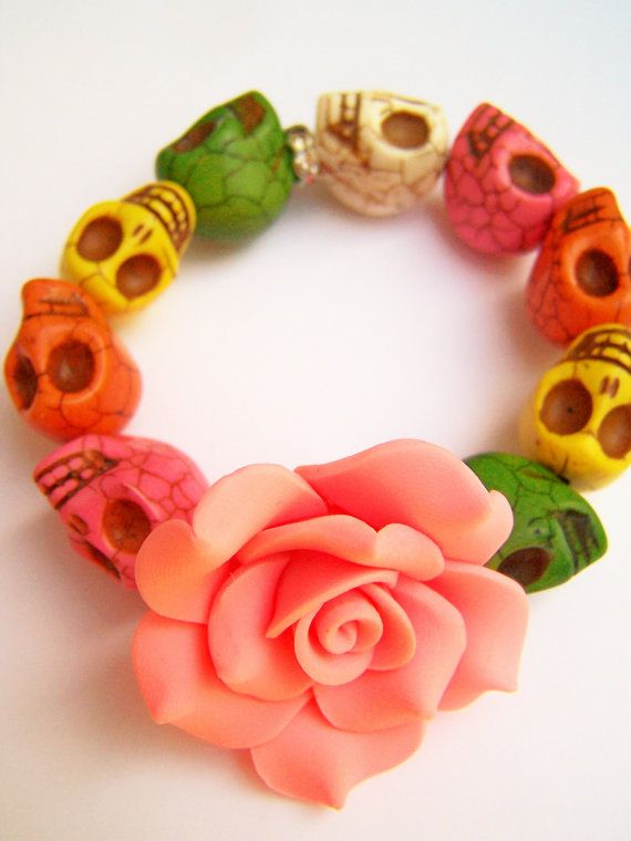 RESERVED - Custom Designed Colorful Skull Stretch Bracelets, Day of the Dead Bracelets, Stone Skulls & Clay Flower, Dia de Los Muertos on Etsy, $12.00