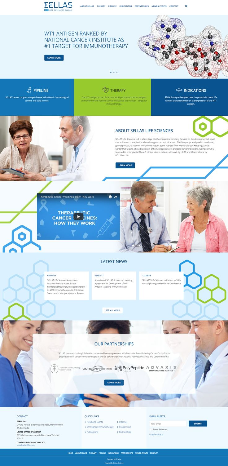 Sellas Life Sciences' Corporate Group - Technology, Corporate Responsive site, Redesign , Q4 Designs