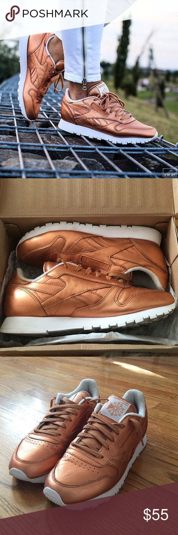Bronze Reebok Classic Face Stockholm x Reebok Classic Metallic Pack • Only used Twice • Super comfortable • Look great with your favorite pair of jeans Reebok Shoes Sneakers