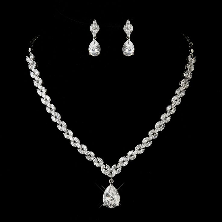 Extraordinary CZ Teardrop Necklace and Earring Wedding and Formal Occasion…