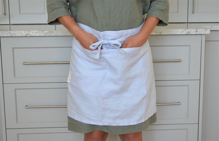 100% stonewashed French linen cafe apron in Cloud Blue colour