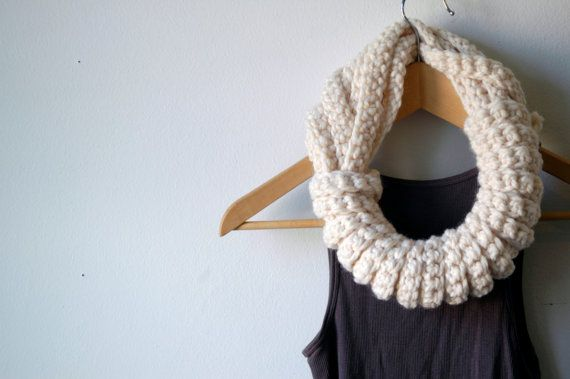 Scarf, Infinity Scarf, Circular Scarf, Neck Warmer, Cowl (The Tether scarf in snow white)