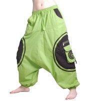 Unisex Psy Baggy Pants Hippie Hose Goa Baumwoll Tanzhose Lemongreen