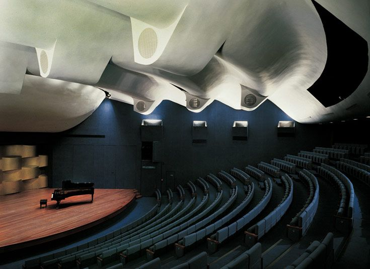 Israel knows how to do concert halls! This hall is located at the Tel Aviv Museum of Art. The actual museum was established in 1932 in a building that was the home of Tel Aviv's first mayor. It moved to its current location in 1971 and we are assuming this music hall was added later...or at least renovated due to the modern style