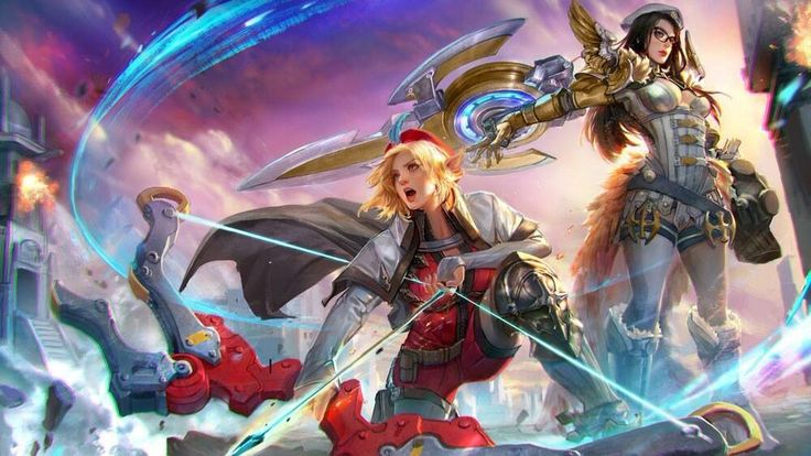 The shield and the bow. Kestrel and Catherine. Vainglory Game.