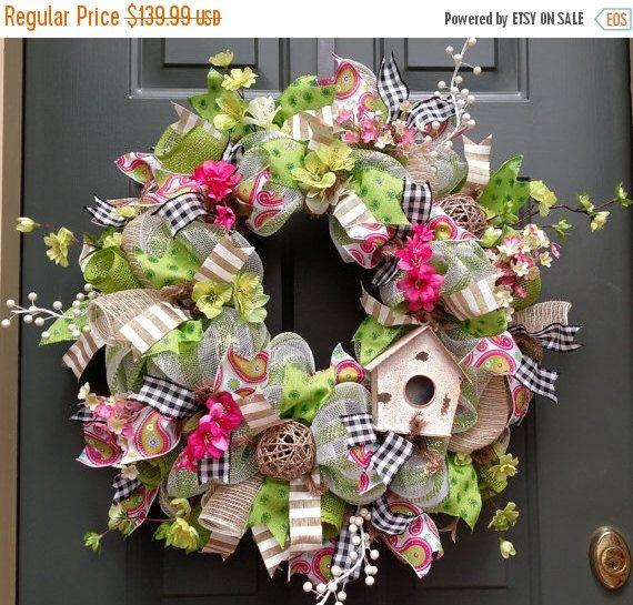ON SALE, Bird House Wreath, Spring Wreath, Front Door Wreath, Pink Wreath