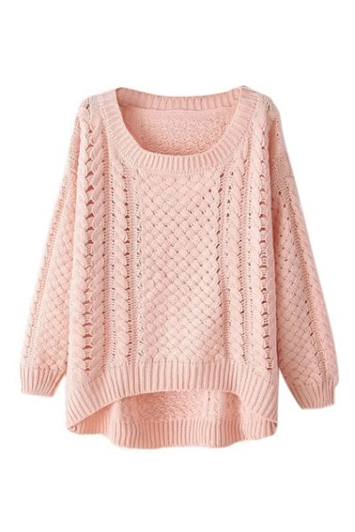 Layer this light pink sweater over a white collared shirt and dove grey jeans for a fall inspired look!
