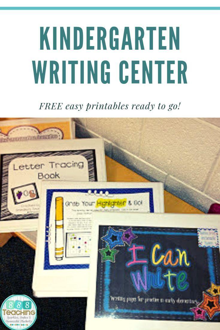 Kindergarten Writing Center Free Setup And Links To Printables And Ho Writing Center Kindergarten Kindergarten Writing Center Activities Kindergarten Writing Free writing center activities for