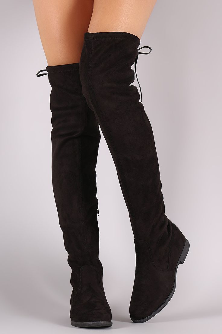 Suede Drawstring Tie Riding Over-The-Knee Boots