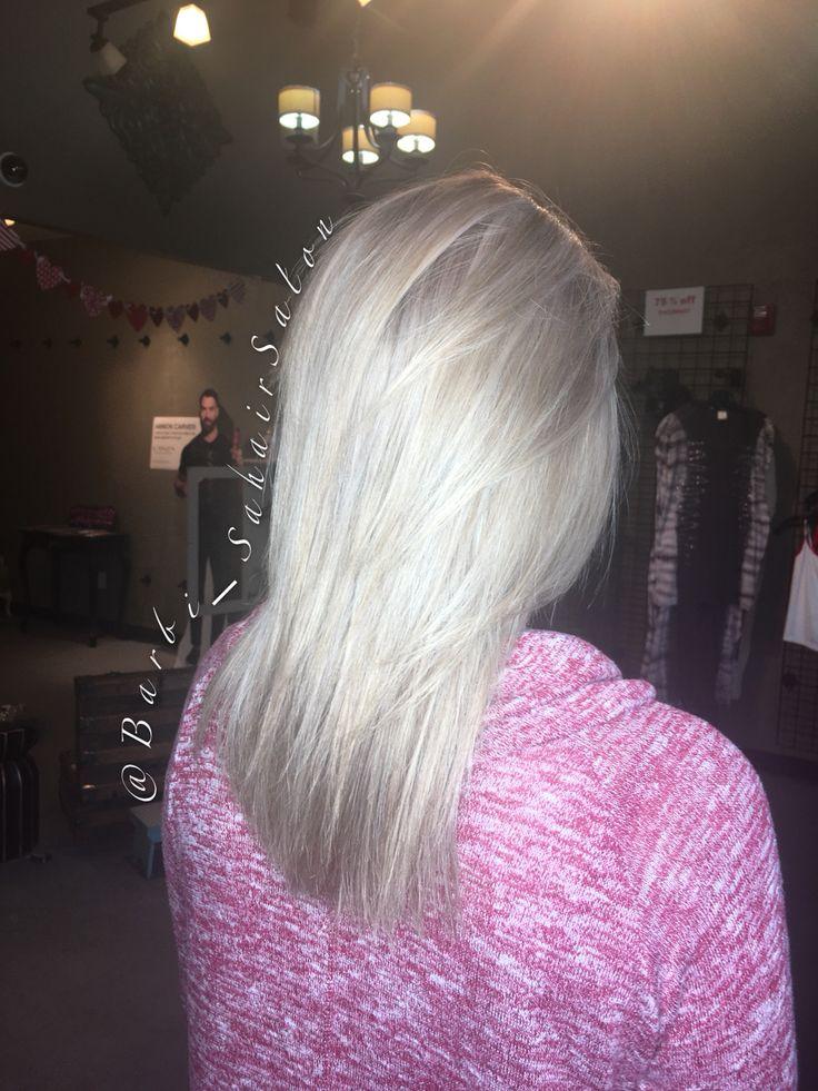 Cool Blonde Highlight Medium Length Straight Shiny Hair Parker Colorado Hairstylist