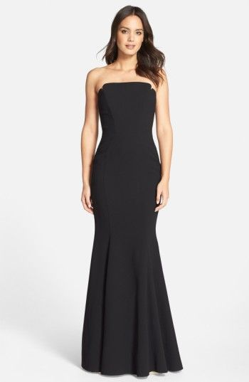 JILL JILL STUART NOTCHED STRAPLESS GOWN. #jilljillstuart #cloth #