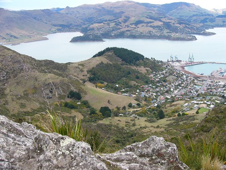 Looking down on Lyttleton  across to Diamond Point Canterbury NZ