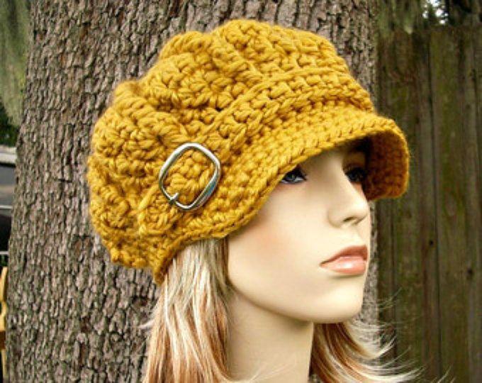 Crochet el sombrero de vendedor de periódicos sombrero sombrero de mujer - monarca gran tamaño acanalado Crochet sombrero de vendedor de periódicos en sombrero del ganchillo amarillo mostaza oro