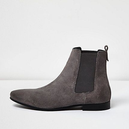 Grey suede Chelsea boots $70.00