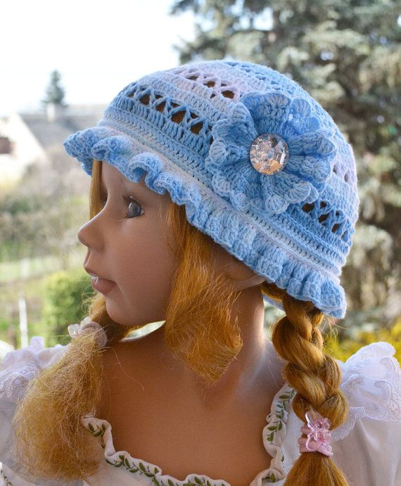 blue Summer cap, COTTON Hat, Cute Crochet, aWeSomE Style, romantic princess, beach hats, sun hats, spring hats
