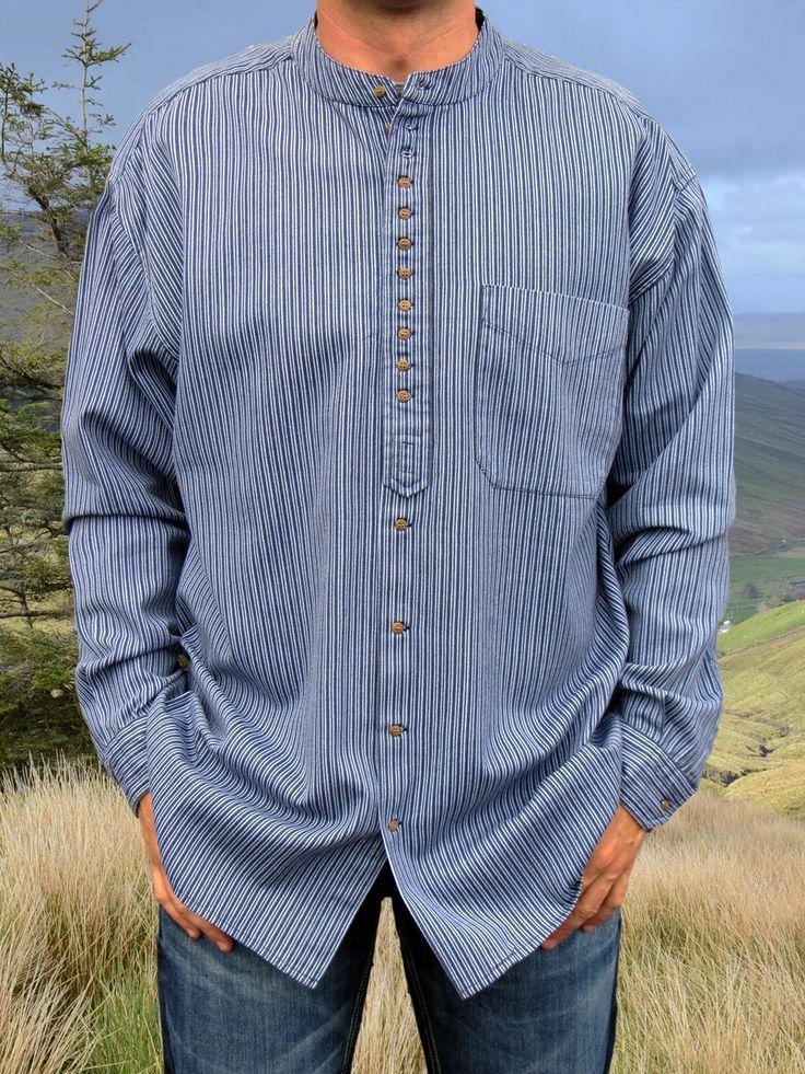 Traditional Grandfather Shirt EW889 Blue