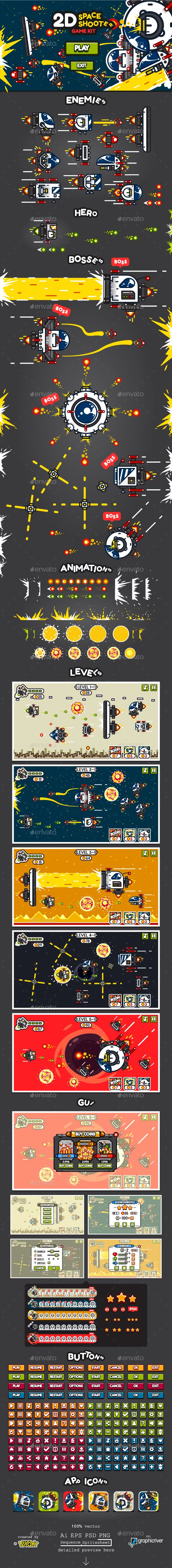 2D Space Shooter Game Kit Download link: https://graphicriver.net/item/2d-space-shooter-game-kit/19877493?ref=klitz