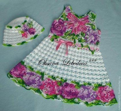 Одежда для девочек, ручной работы. Платье летнее крючком хлопок ирландия…