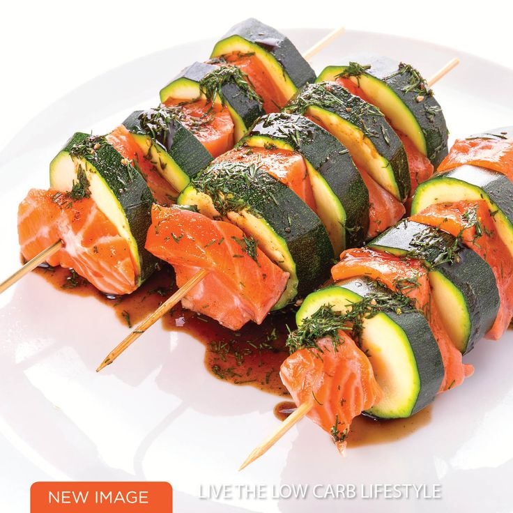 Low Carb Lemon, Salmon & zucchini Kebabs - Tasty! Healthy! Quick, great for the BBQ
