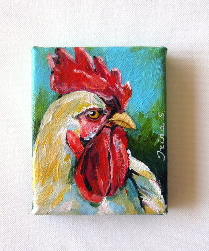 Rooster Original Painting on canvas 4 x 5 by irinashop on Etsy, $40.00