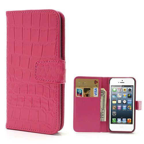 Glanzend roze krokodillenleer bookcase hoesje voor iPhone 5 / 5s