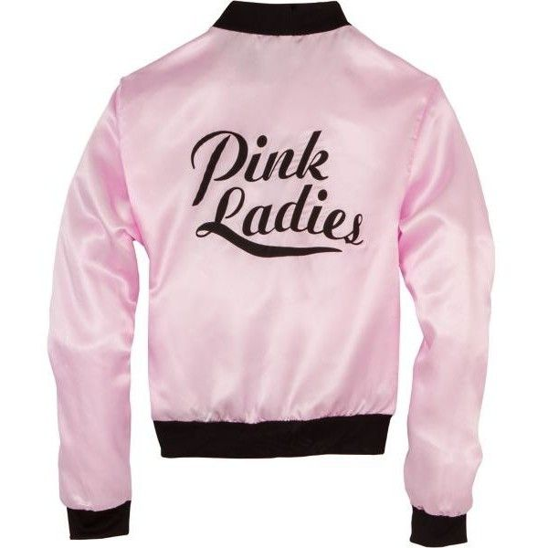 Pink Ladies Jacket ($25) ❤ liked on Polyvore featuring outerwear, jackets, pink jacket, satin jacket and pink satin jacket