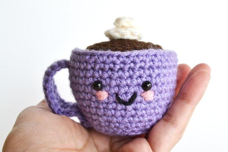 Amigurumi Coffee purple cup