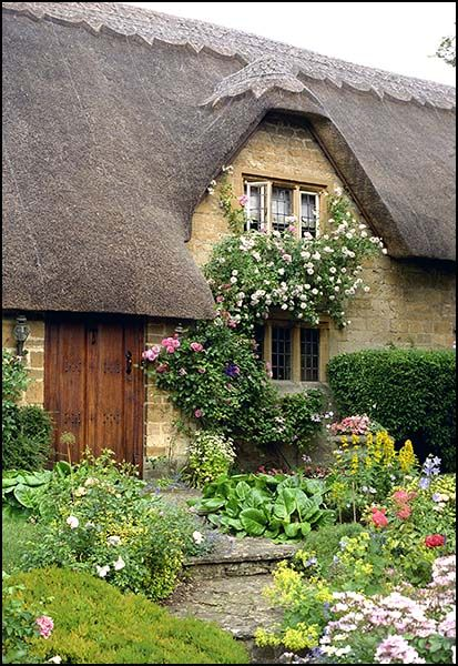 English garden thatched roof...come in, girls. There are blueberry scones in the oven and hot tea in pink, floral tea cups.
