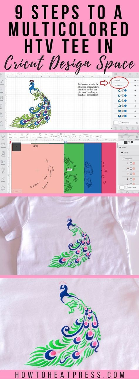 9 steps to multicolored heat transfer vinyl tee in Cricut design space.