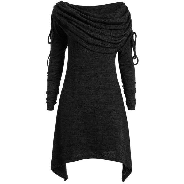 DEZZAL Women's Plus Size Long Sleeve Fold-Over Collar Ruched Long... ($28) ❤ liked on Polyvore featuring tops and tunics