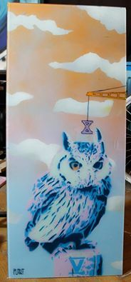 """""""Wise as an owl II""""  A project made on glass 100x40 cm"""