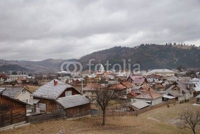 Vama's village view during a winter day, Bucovina, Romania