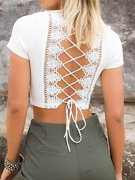 Shop White Plunge Lace Panel Lace-up Back Crop Top from choies.com .Free shipping Worldwide.$12.9