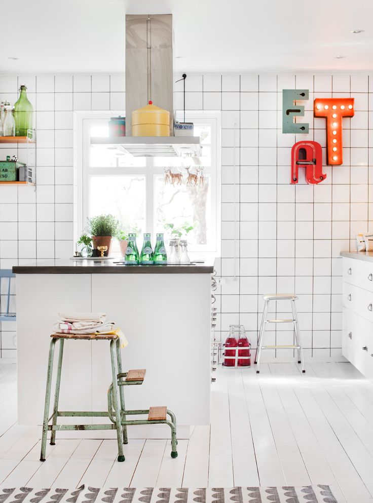 Love the tiles and the stool #inspo from www.skonahem.com