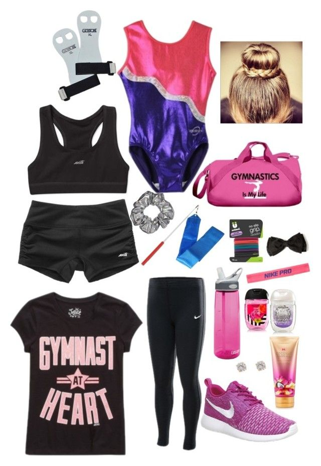"""Gymnastics"" by natalieey ❤ liked on Polyvore featuring scunci, claire's, NIKE, CamelBak and Victoria's Secret"