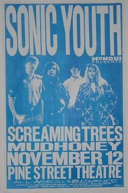 Sonic Youth Screaming Trees Mudhoney 1988 Punk Flyer Concert Poster