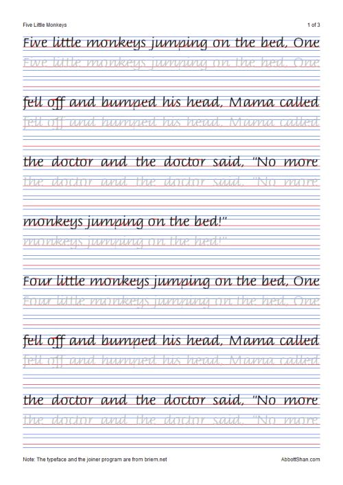 five little monkeys italic handwriting worksheets you italic handwriting pinterest. Black Bedroom Furniture Sets. Home Design Ideas