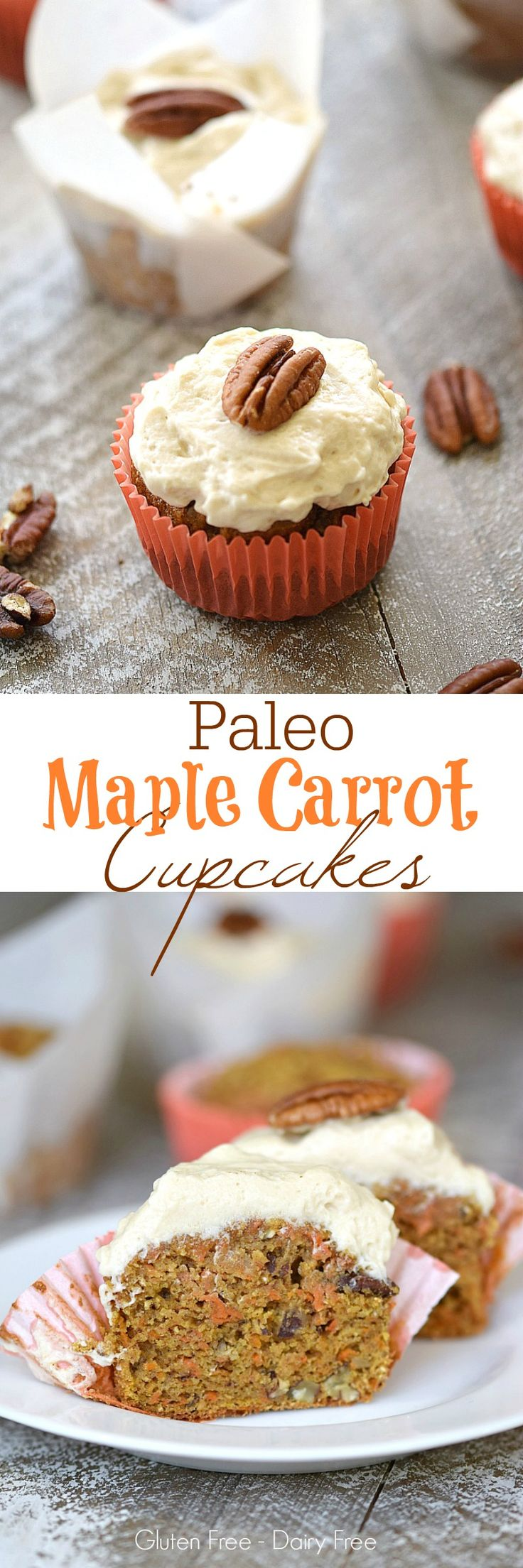 These Paleo Maple Carrot Cupcakes are moist and delicious and topped with a creamy Maple Frosting for a perfectly healthy treat | cookingwithcurls.com