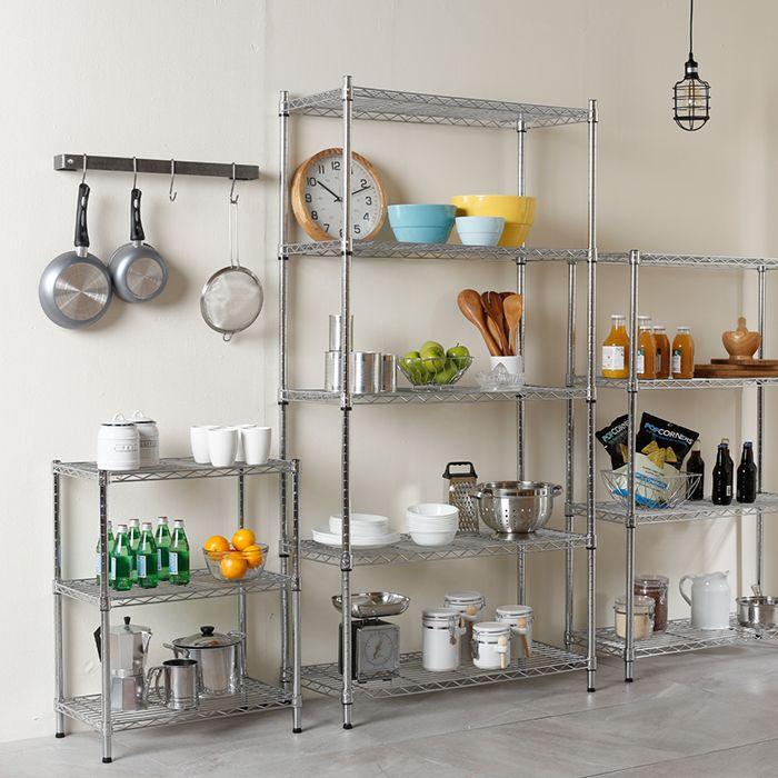 Organiza tu cocina con estantes metálicos, crea tus propias combinaciones de acuerdo a las medidas de tu espacio. Organizador metálico para cocina. Estante multiusos.