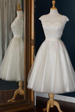 Audrey Lynn Vintage Bridal Megan Dress | Tea length wedding dress with applique lace cap sleeves, sweetheart neckline, full tulle skirt and matching belt