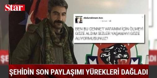 #Şırnak'ta şehit düşen korucu Abdurrahman Avcı'nın son paylaşımı yürekleri dağladı: #Şırnak'ın Cudi Dağı Kemerli Köyü mevkisinde arama tarama faaliyeti yürüten güvenlik görevlilerine, PKK'lı teröristler tarafından uzun namlulu silahlarla saldırı düzenlendi. Güvenlik güçlerinin de karşılık vermesiyle çatışma çıktı. Çatışmada 1 asker ile 2 güvenlik korucusu yaralandı. Yaralılar, #Şırnak Devlet Hastanesi'ne kaldırılarak, tedavi altına alındı.   TEDAVİ ALTINDAKİ KORUCU ŞEHİT OLDU   Güvenlik…
