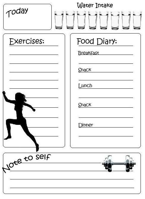 Fitness diary, black and white printable
