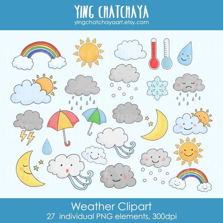 Digital Download Weather Clipart Weather Clip Art Kawaii Etsy In 2021 Weather Clipart Kawaii Weather Clip Art