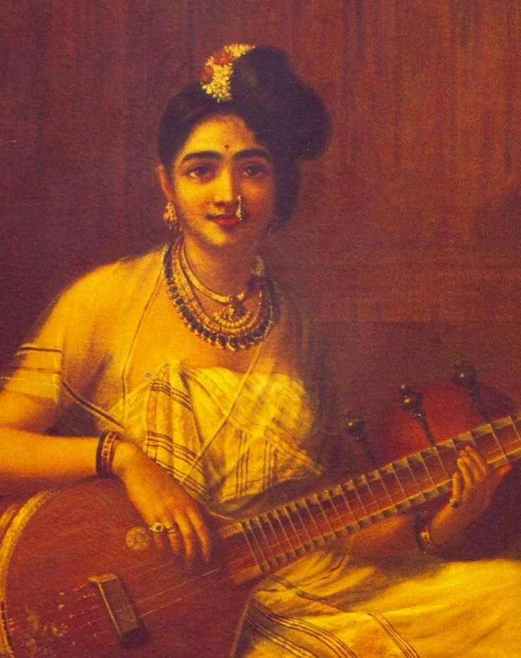 Lady with Veena by Raja Ravi Verma