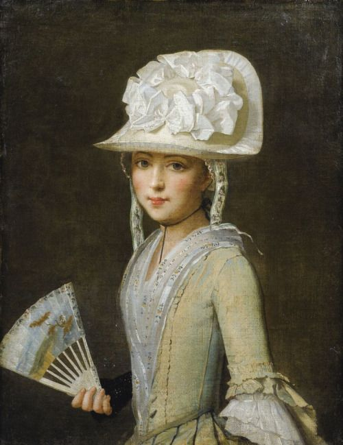 Portrait of a young lady with a fan. Provençal school, 18th Century.