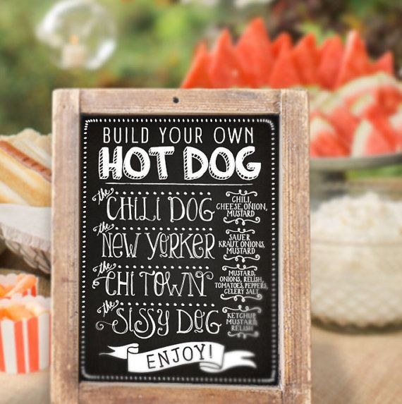 $5 Printable Party Sign / Backyard Hot Dog Bar by PartyLikeKitty
