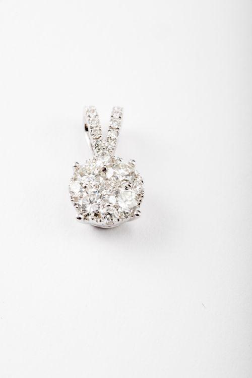 Micropavé Diamond Pendant in 18k White Gold